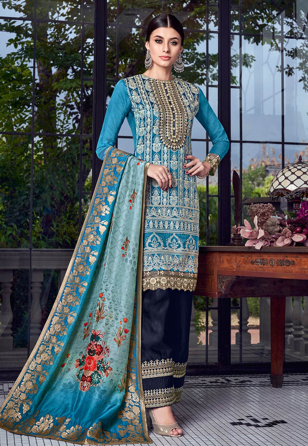 Blue Silk Embroidered Kameez With Palazzo 182590