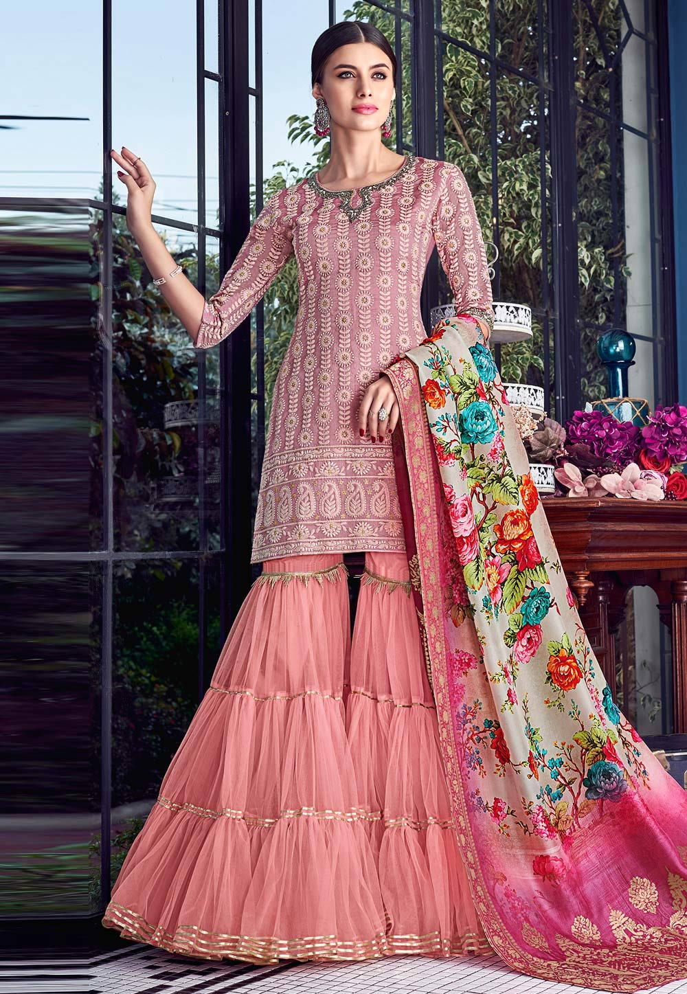 Pink Silk Embroidered Sharara Suit 182591