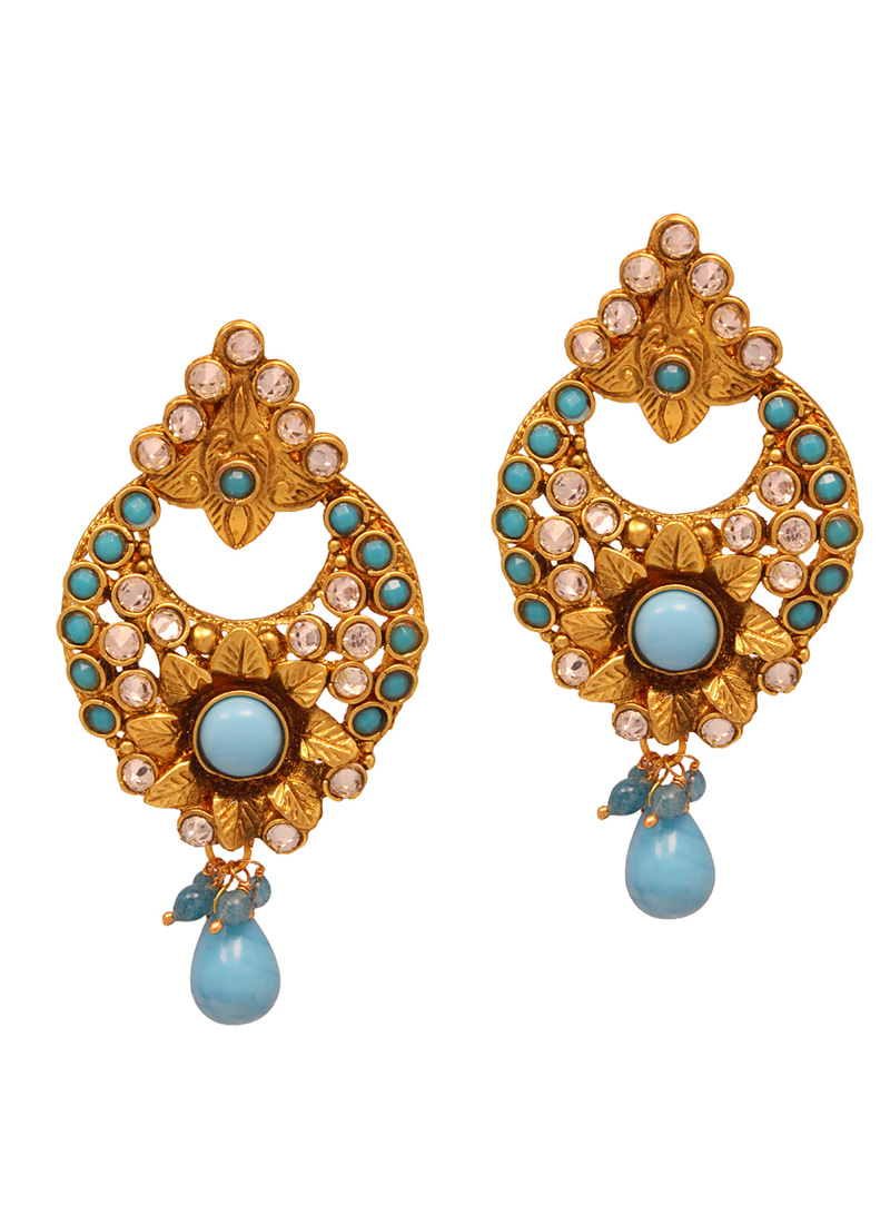 Sky Blue Copper Austrian Diamonds Earrings 102483