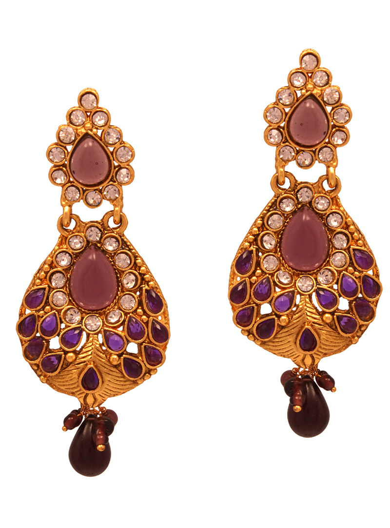 Purple Copper Austrian Diamonds Earrings 102484