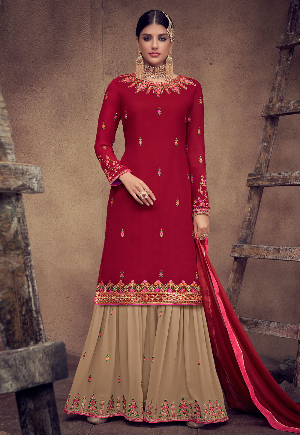 Maroon Georgette Embroidered Sharara Suit 182244
