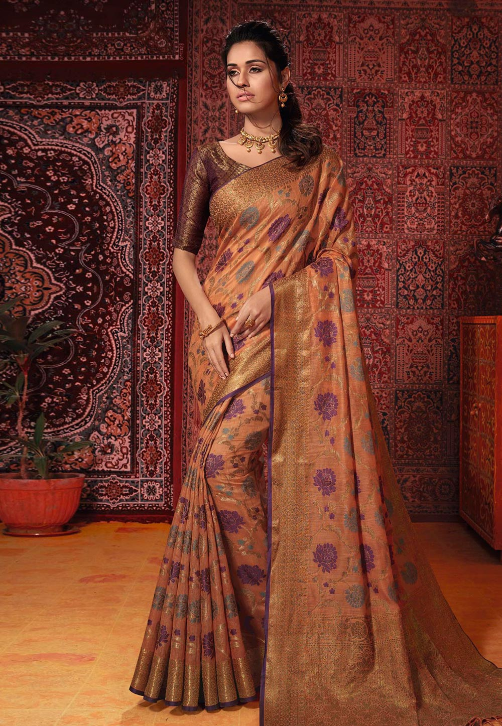 Peach Banarasi Festival Wear Saree 187441
