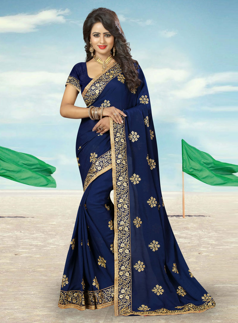 Navy Blue Georgette Patch Lace Work Saree 91813