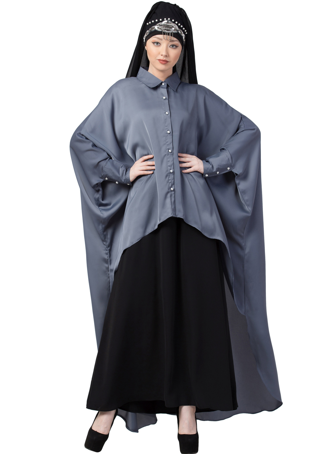 Grey Polyester Readymade Abaya 200204