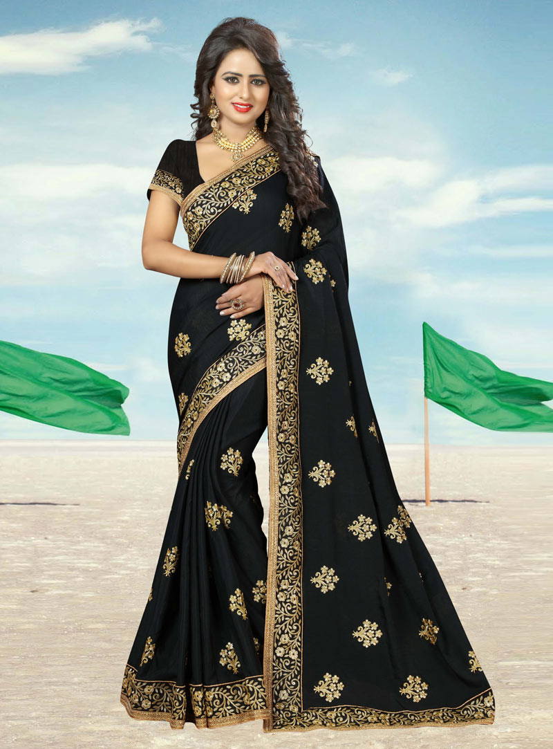 Black Georgette Saree With Blouse 91815