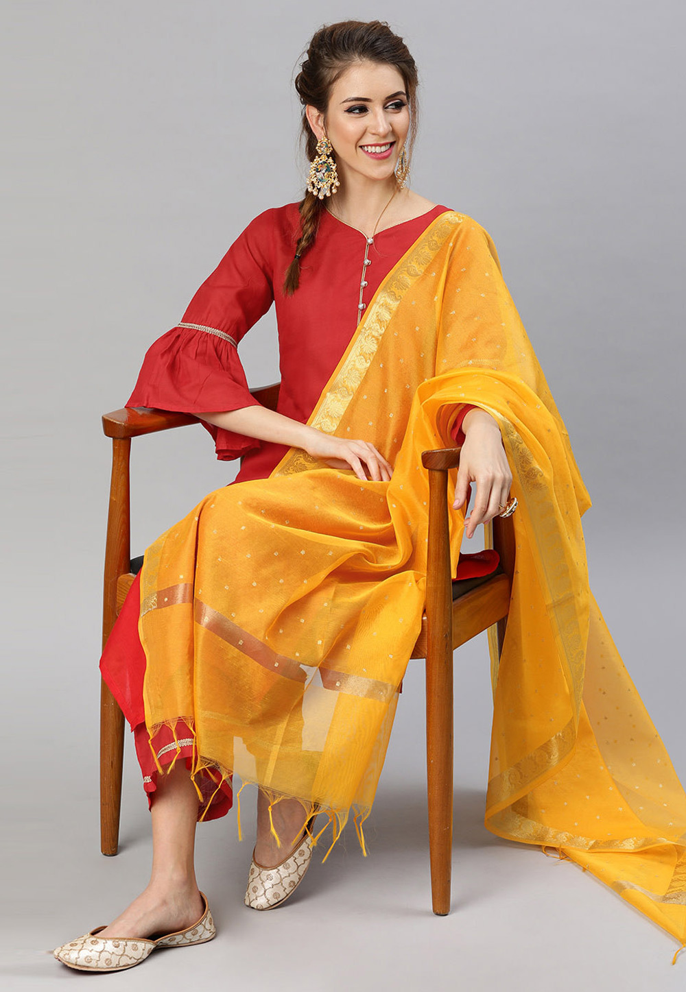 Red Cotton Readymade Palazzo Suit 200045