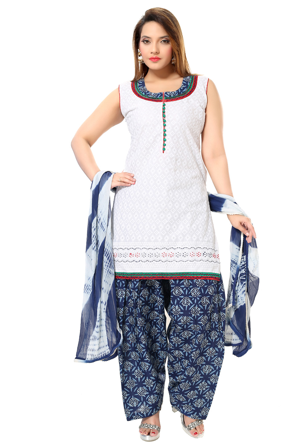 Off White Cotton Readymade Patiala Suit 194243