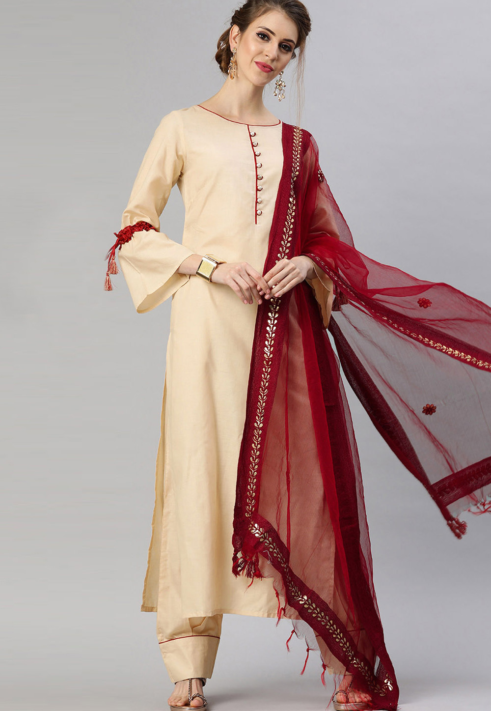 Beige Cotton Readymade Kameez With Palazzo 200048