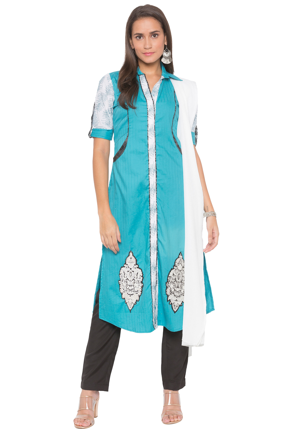 Light Blue Cotton Readymade Kameez With Pant 188146