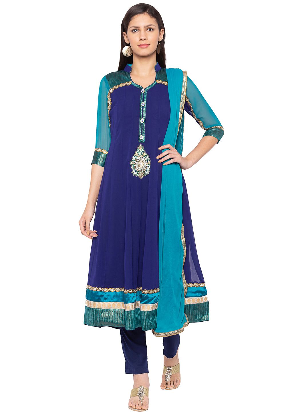 Blue Georgette Readymade Pant Style Suit 188150
