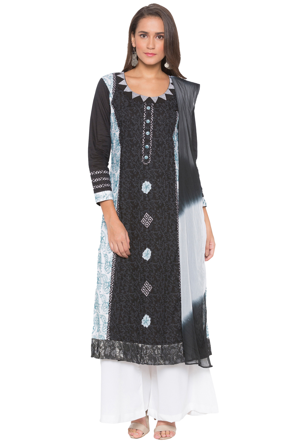 Black Cotton Readymade Kameez With Palazzo 188152