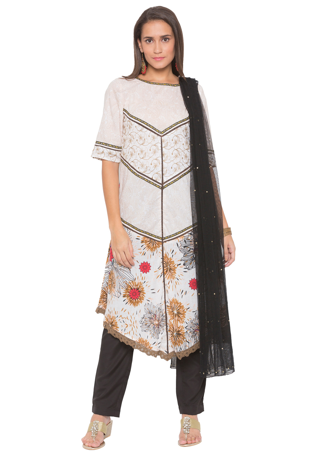 Off White Cotton Readymade Pant Style Suit 188155