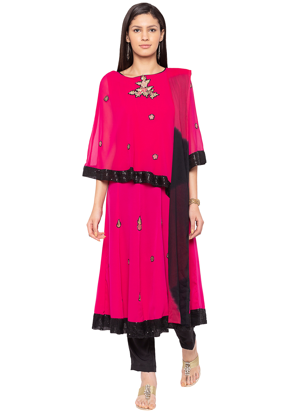 Magenta Georgette Readymade Kameez With Pant 188156
