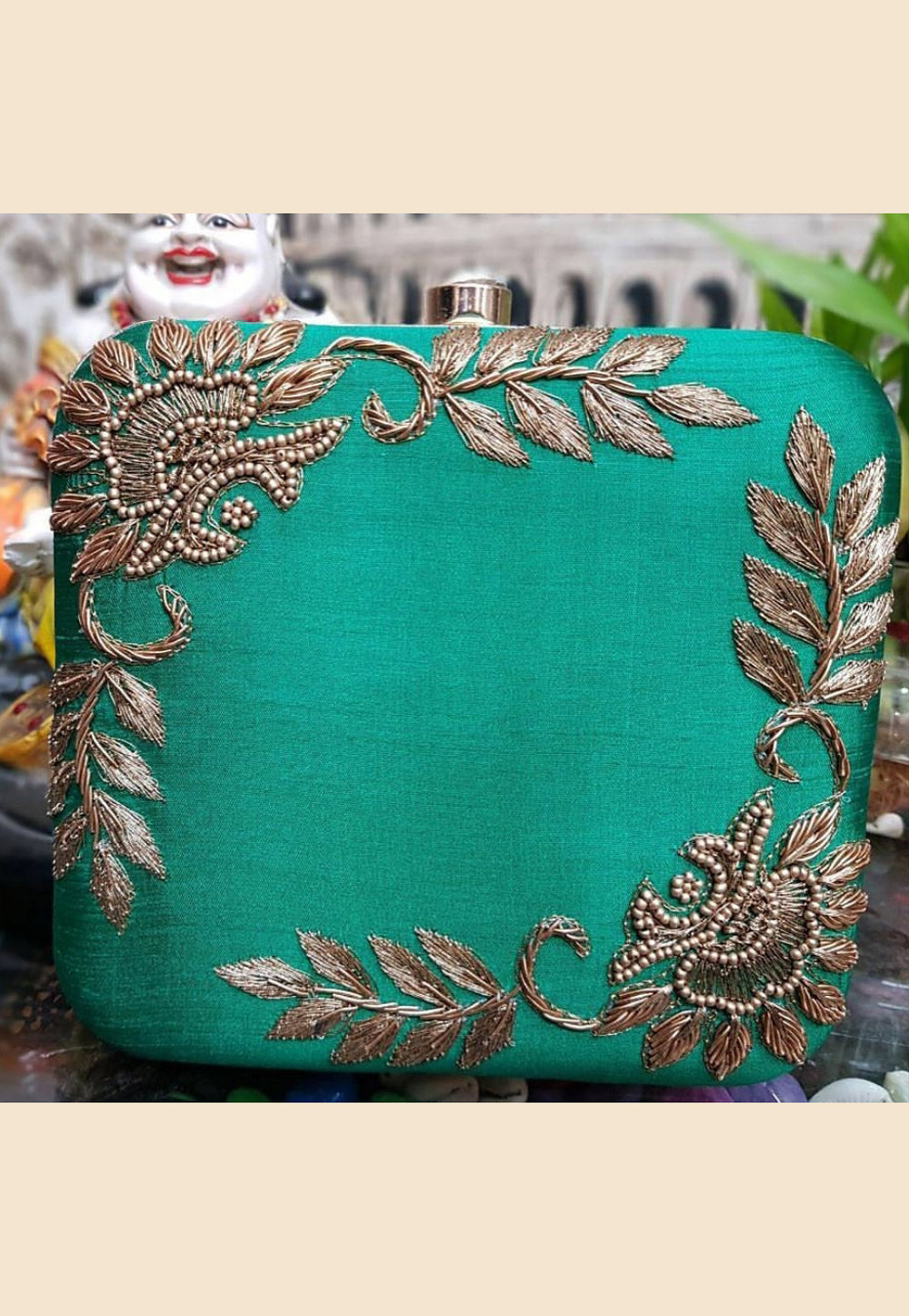 Teal Green Synthetic Embroidered Clutch 187939