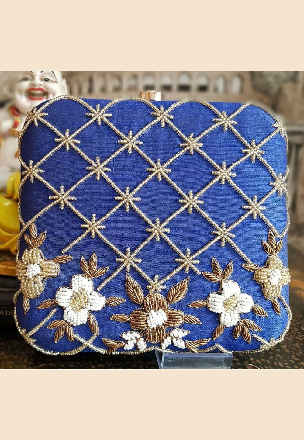 Blue Synthetic Embroidered Clutch 187946