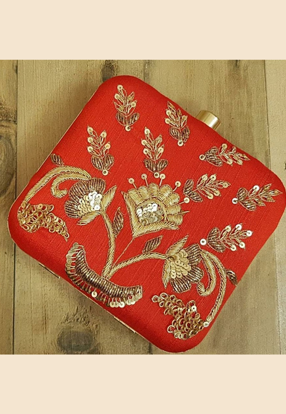 Red Synthetic Embroidered Clutch 187947