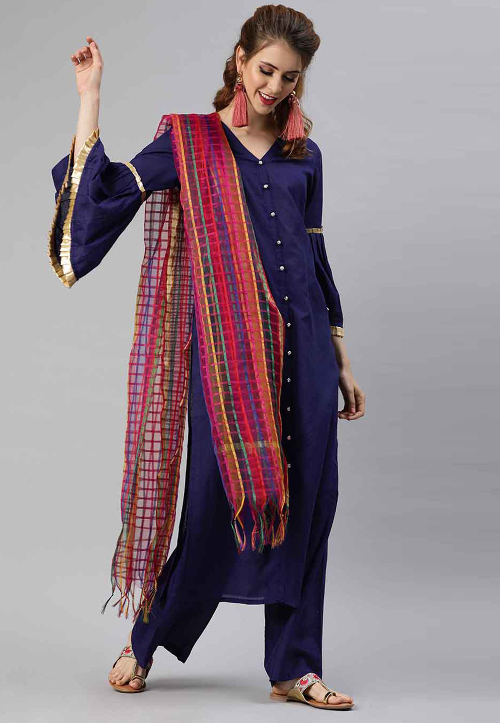 Navy Blue Cotton Readymade Kameez With Palazzo 200052