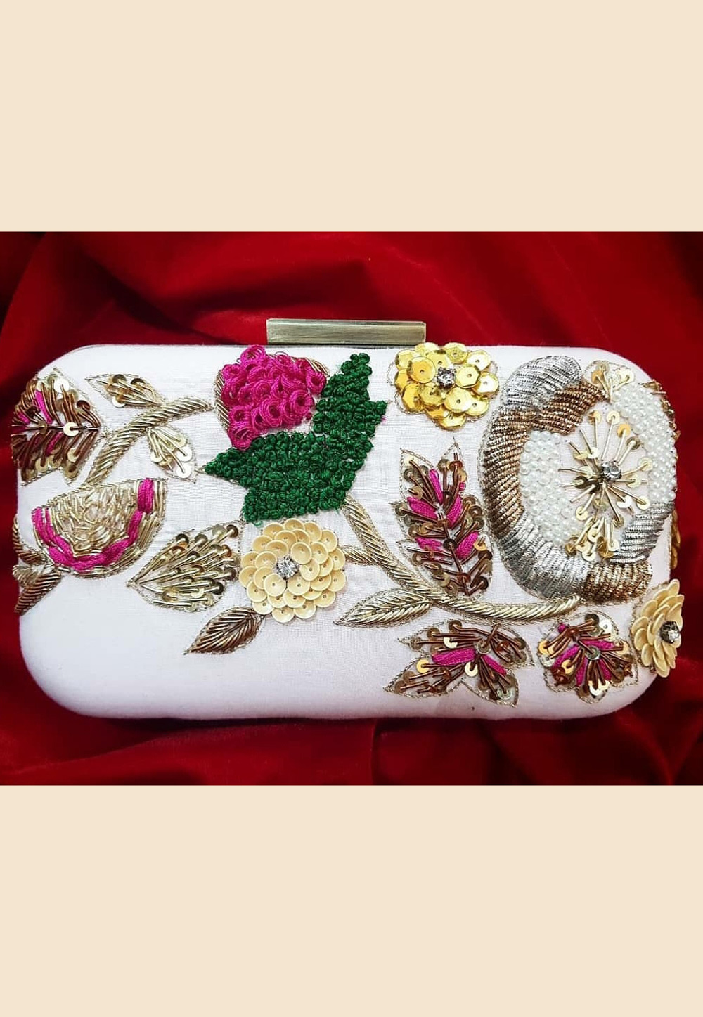 White Synthetic Embroidered Clutch 188416