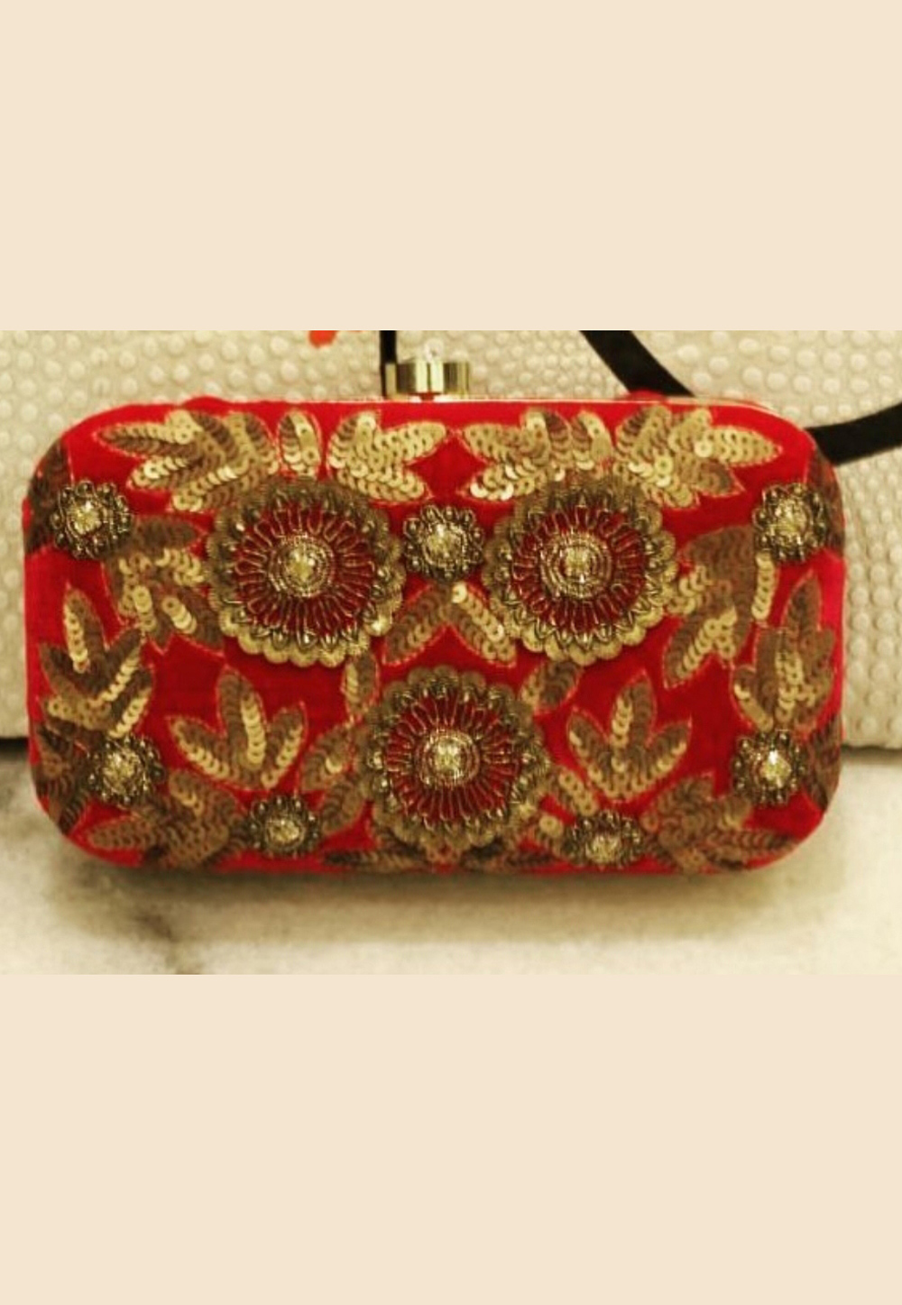 Red Synthetic Embroidered Clutch 188426