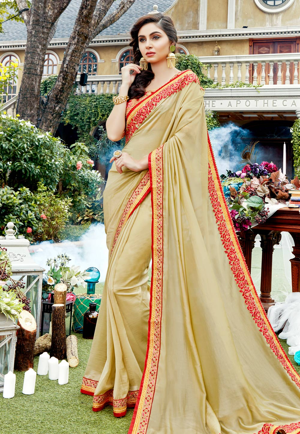 Beige Georgette Embroidered Saree With Blouse 165663