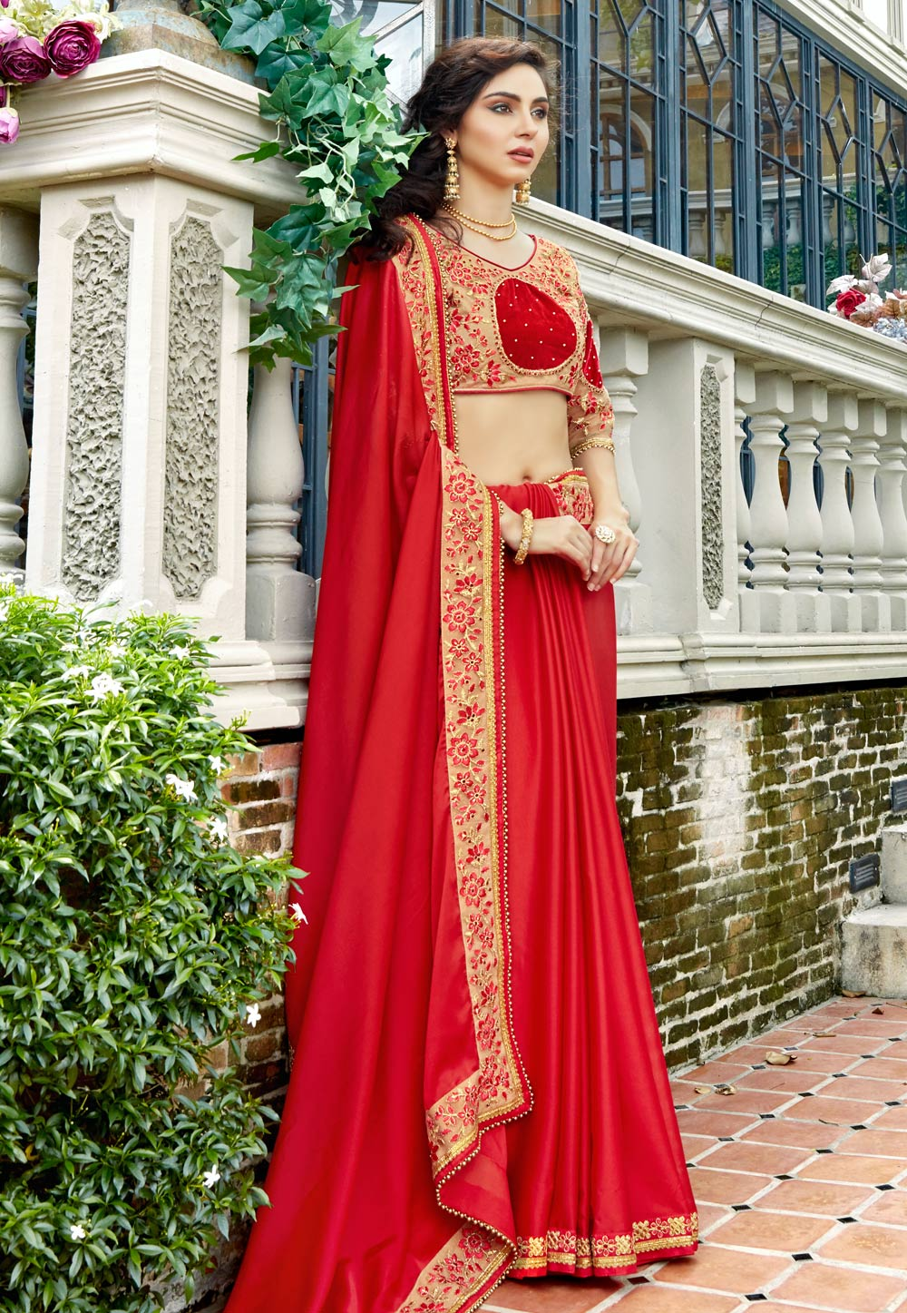 Red Georgette Embroidered Saree With Blouse 165665
