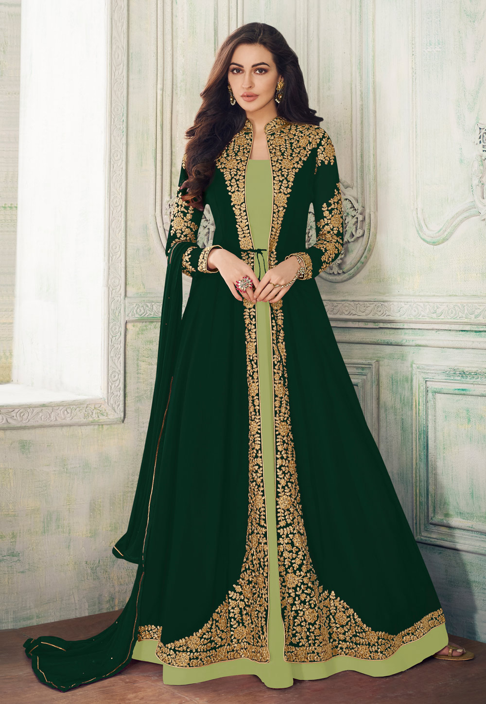 Green Georgette Embroidered Jacket Style Anarkali Suit 194672