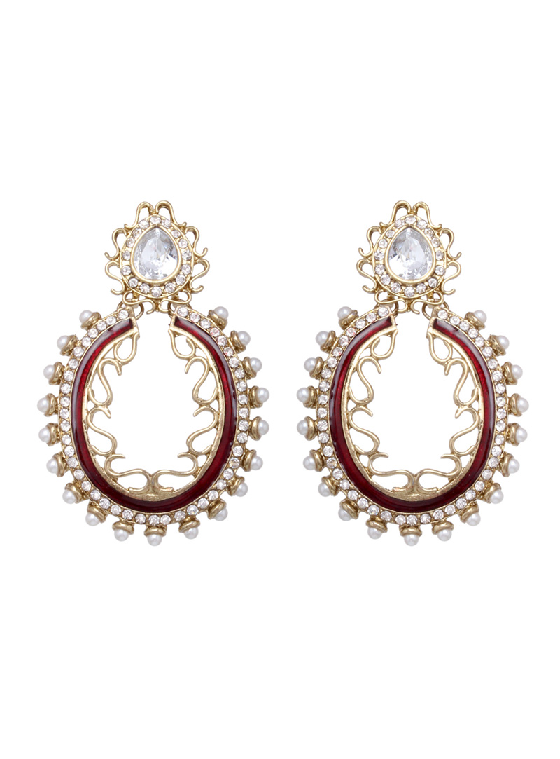 Maroon Zinc Pearls Earrings 43963