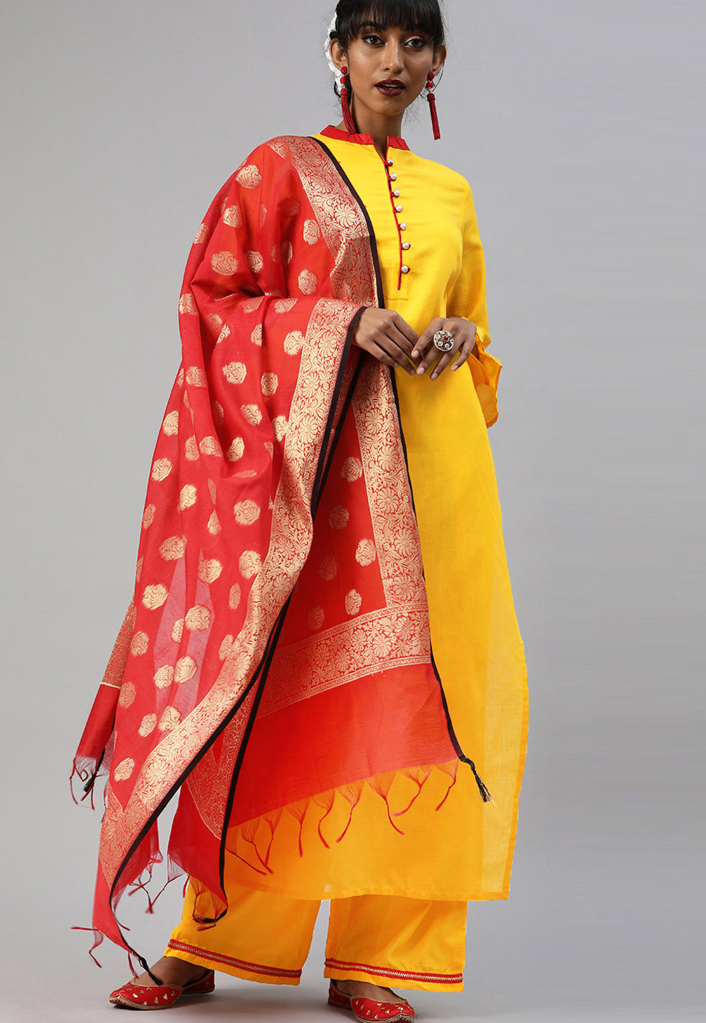 Yellow Cotton Readymade Kameez With Palazzo 200054