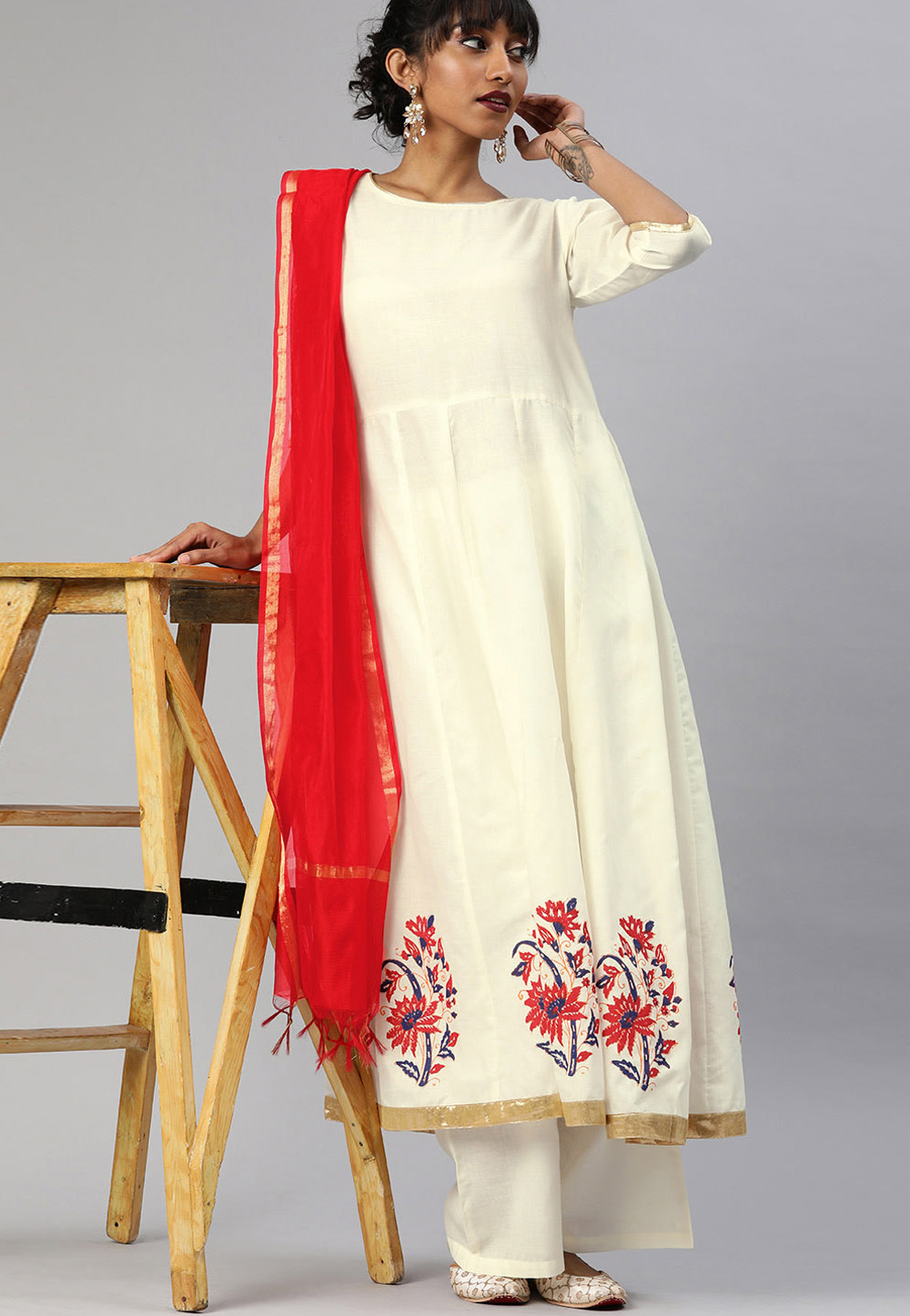 Off White Cotton Readymade Kameez With Palazzo 200056