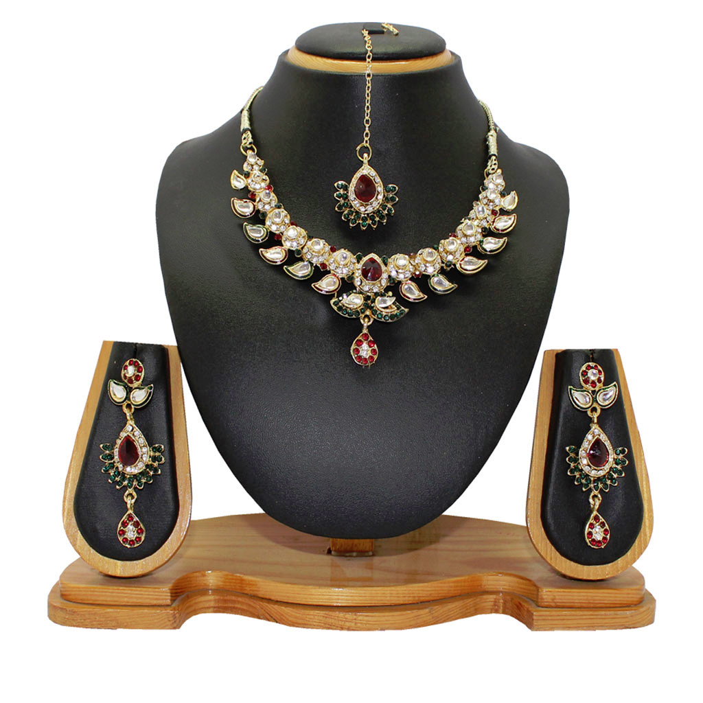 Maroon Alloy Austrian Diamonds Necklace With Earrings and Maang Tikka 64334