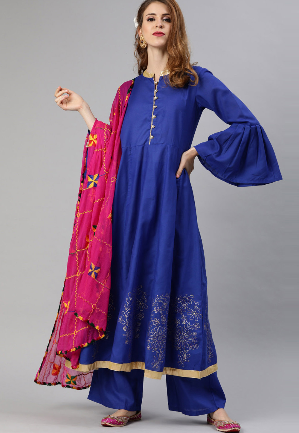 Blue Cotton Readymade Kameez With Palazzo 200058