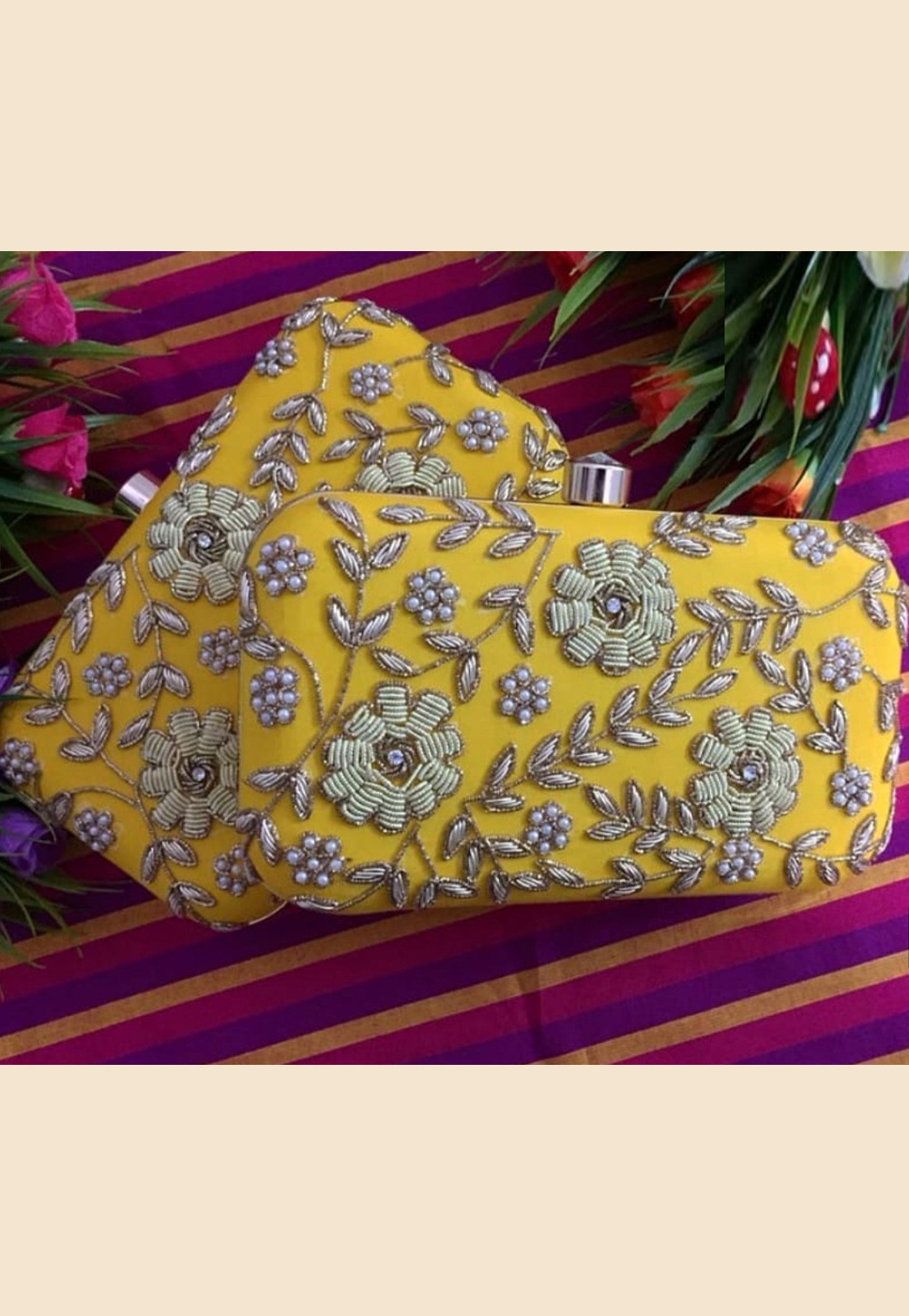 Yellow Synthetic Embroidered Clutch 189366