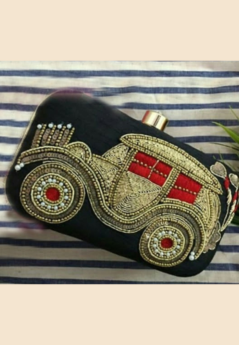 Black Synthetic Embroidered Clutch 189371