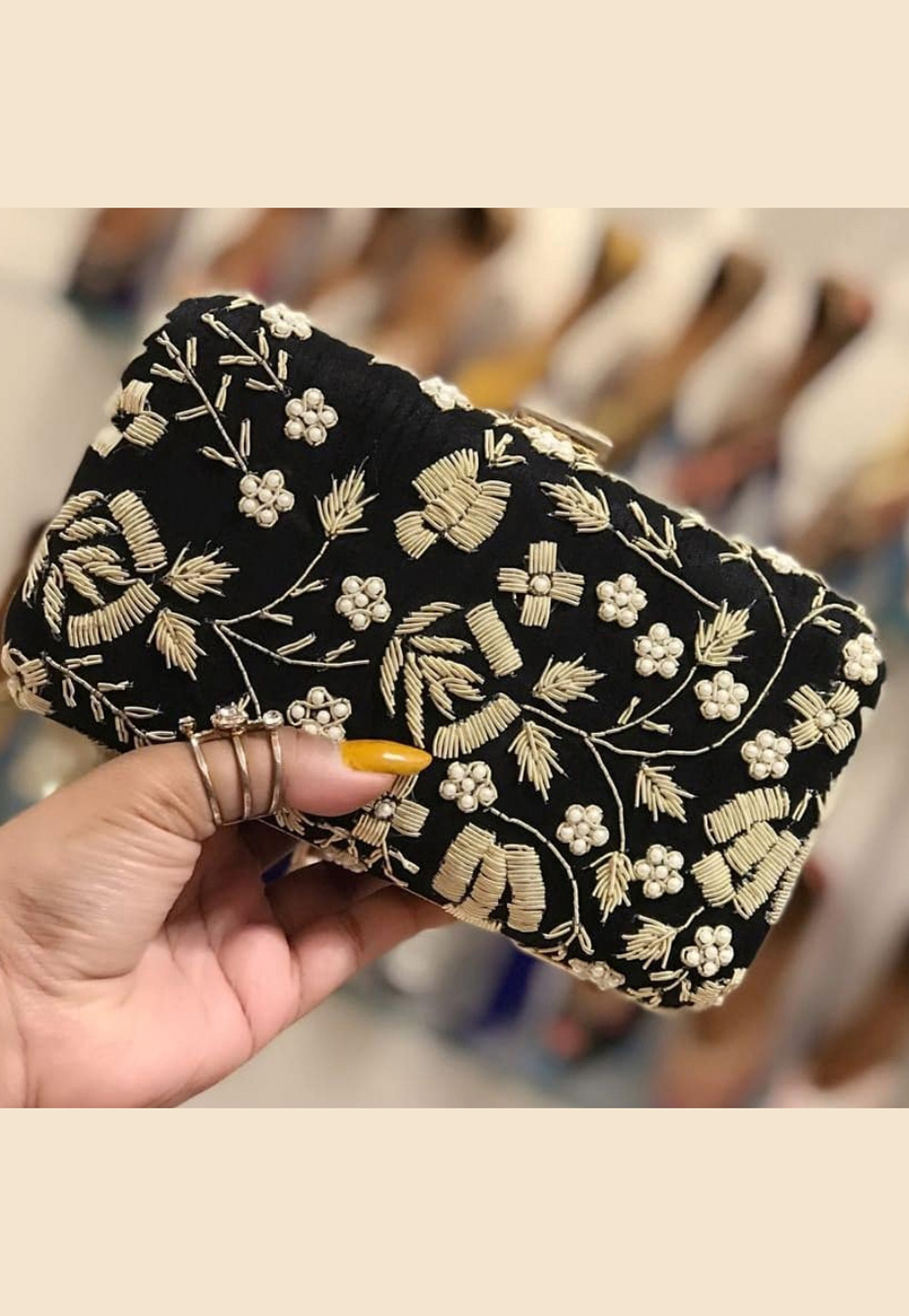 Black Synthetic Embroidered Clutch 189378