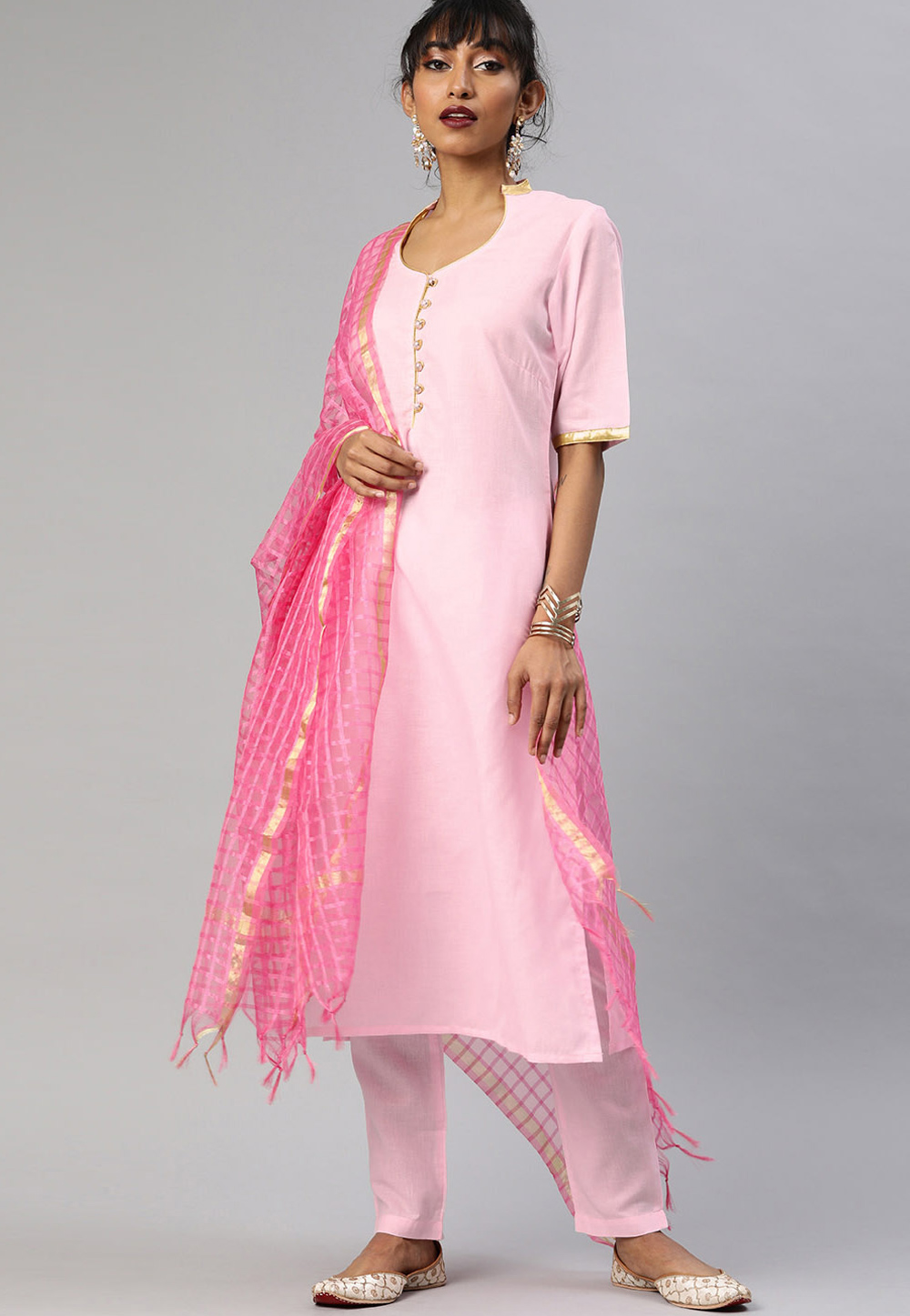Light Pink Cotton Readymade Kameez With Palazzo 200060