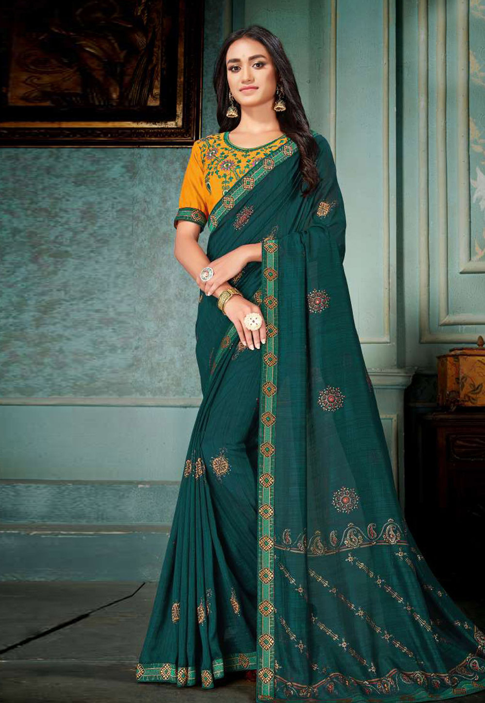 Teal Silk Festival Wear Saree 189112