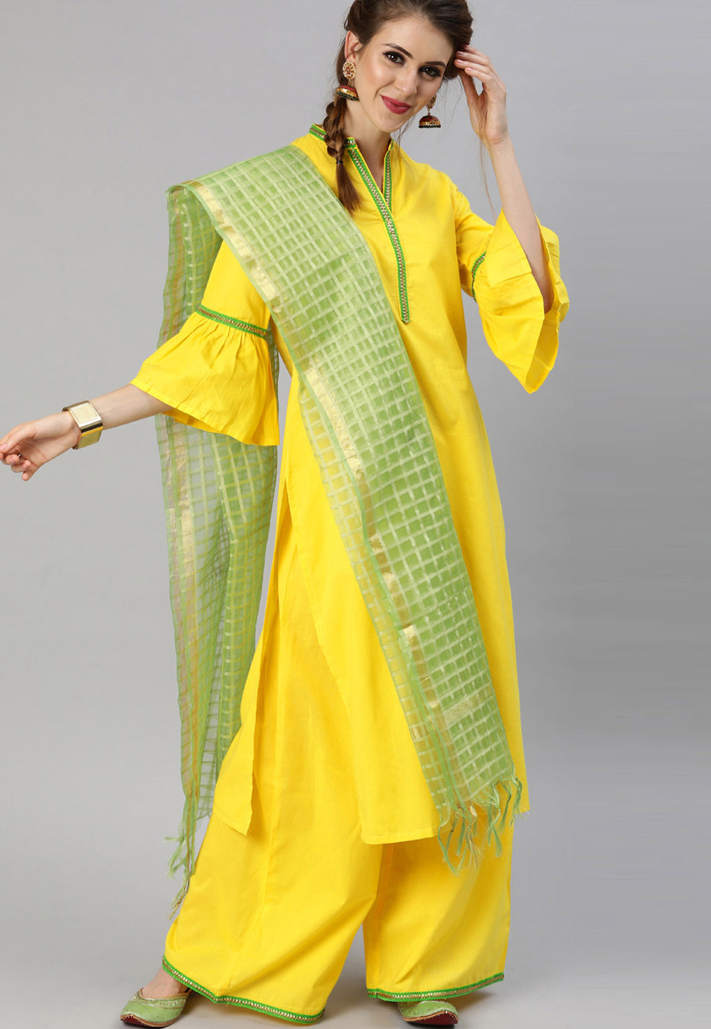 Yellow Cotton Readymade Kameez With Palazzo 200062