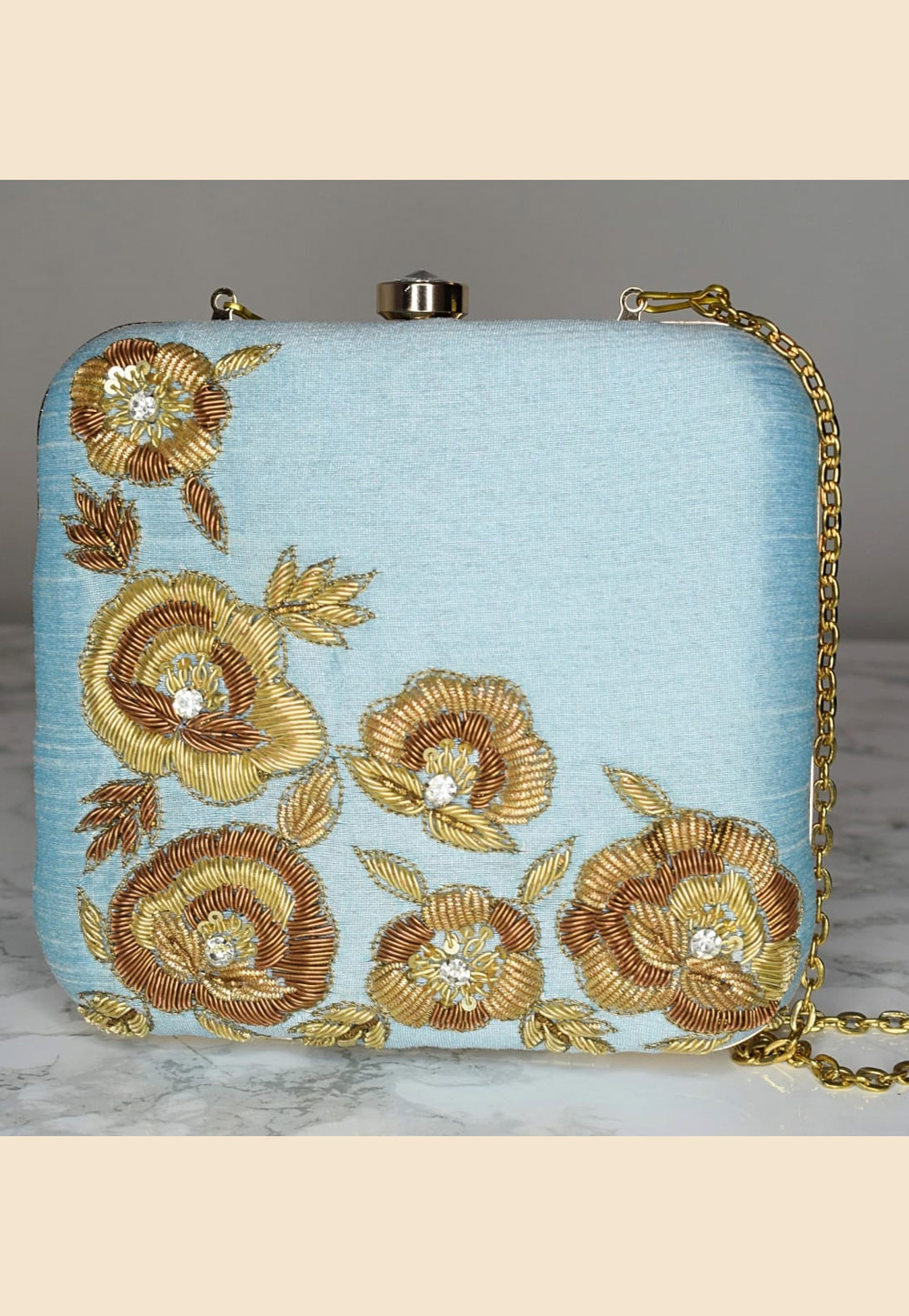Sky Blue Synthetic Embroidered Clutch 189801