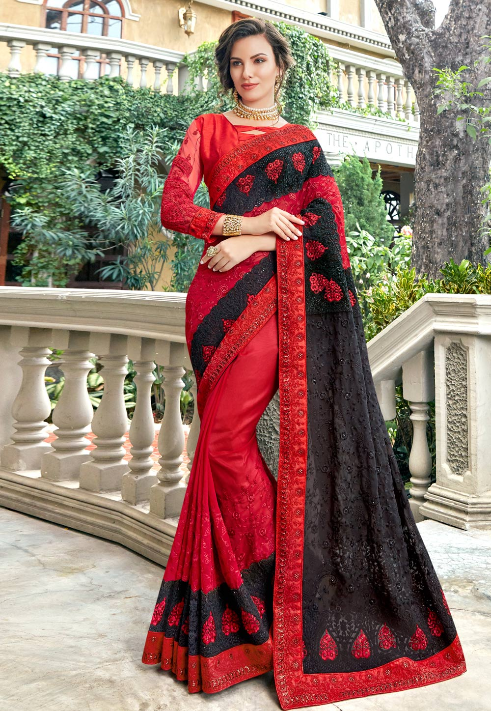 Red Georgette Saree With Blouse 181040