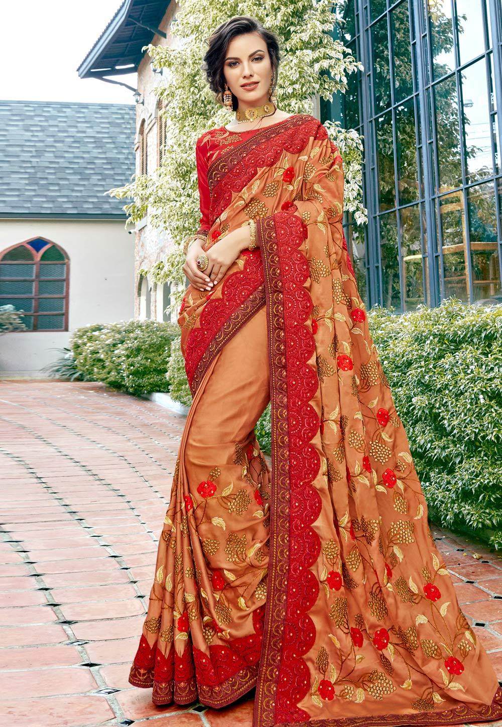 Peach Georgette Saree With Blouse 181042