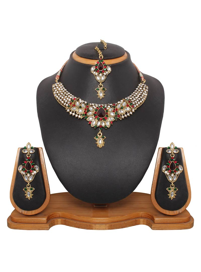 Maroon Austrian Diamonds and Kundans Necklace With Earrings and Maang Tikka 42321