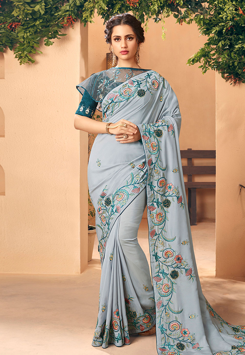 Grey Art Silk Saree With Blouse 189695