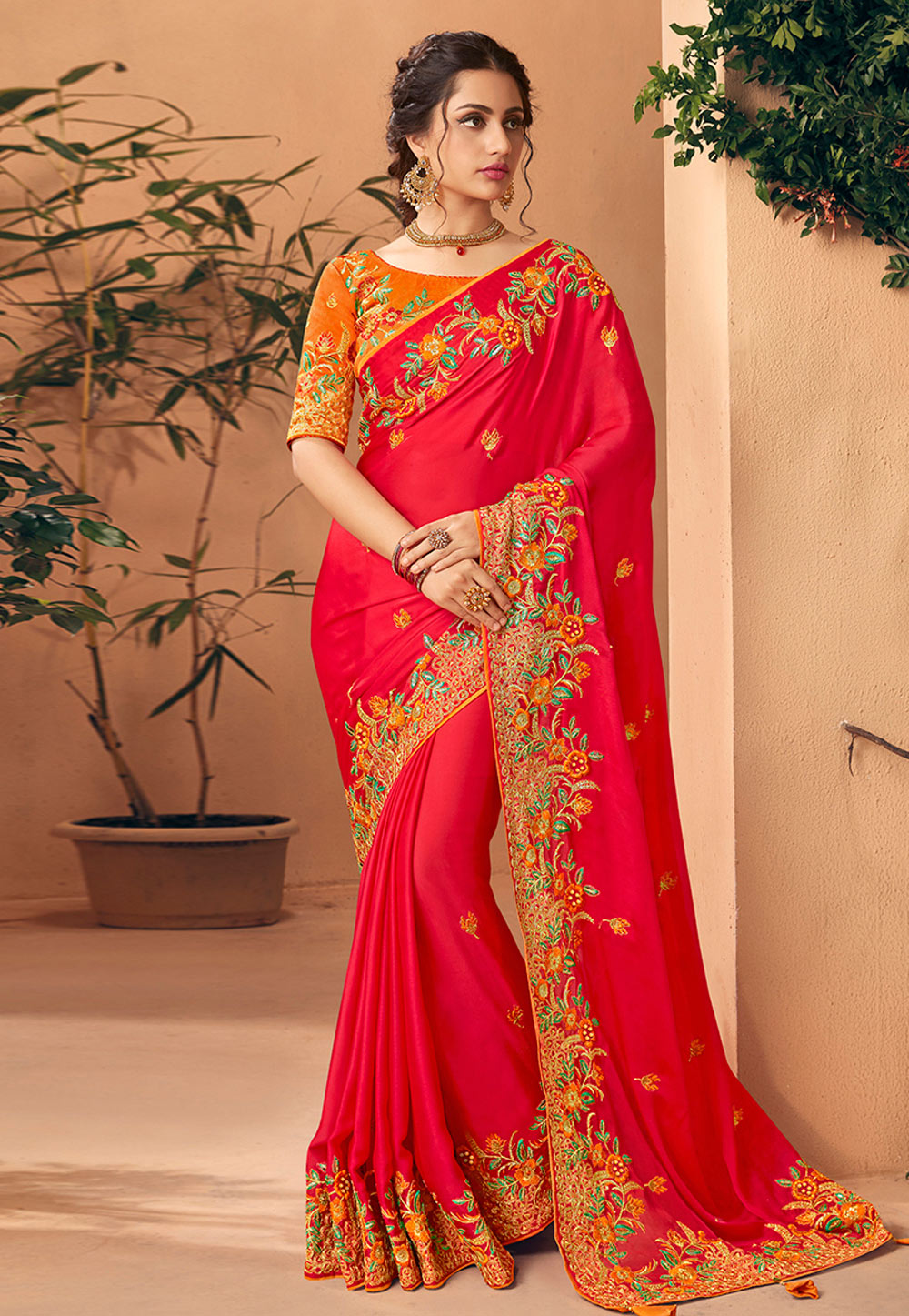 Magenta Art Silk Saree With Blouse 189699