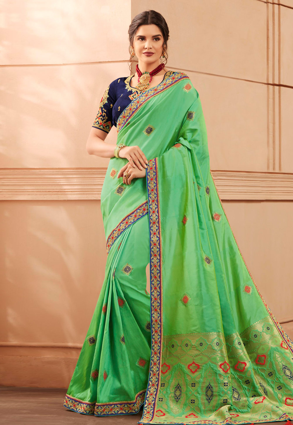 Light Green Banarasi Silk Saree With Blouse 189979