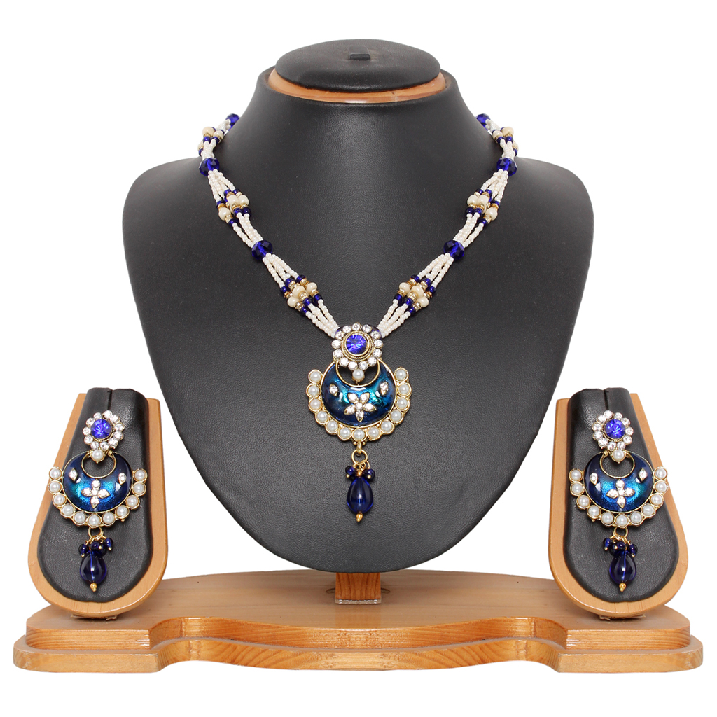 Royal Blue Alloy Austrian Diamonds Necklace With Earrings ...