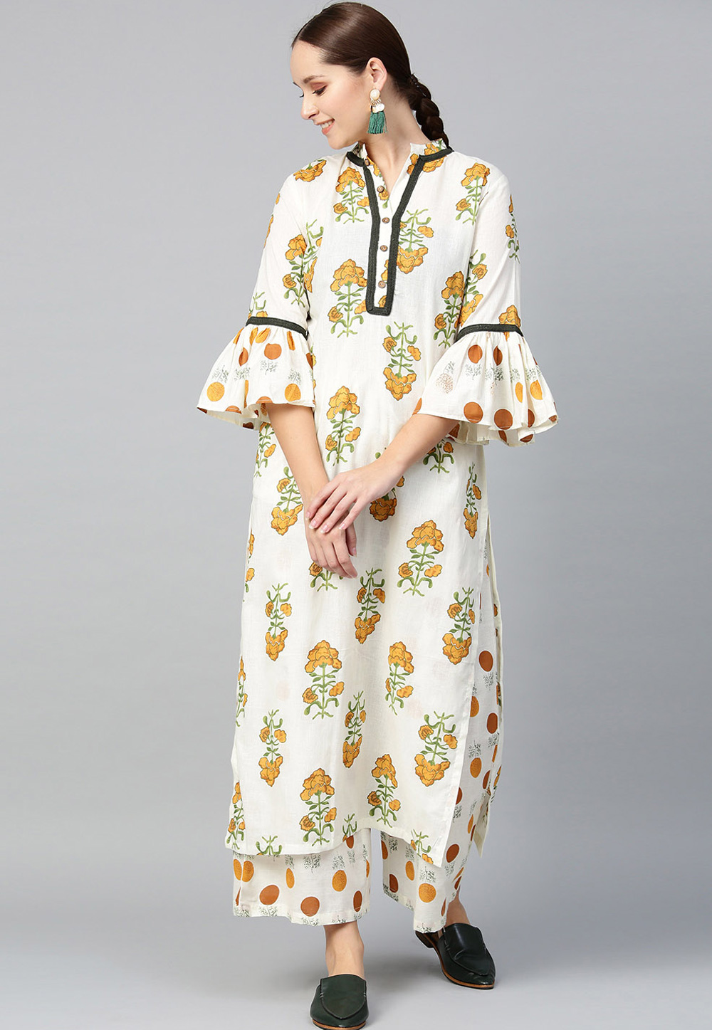 Off White Pure Cotton Readymade Kameez With Palazzo 200069