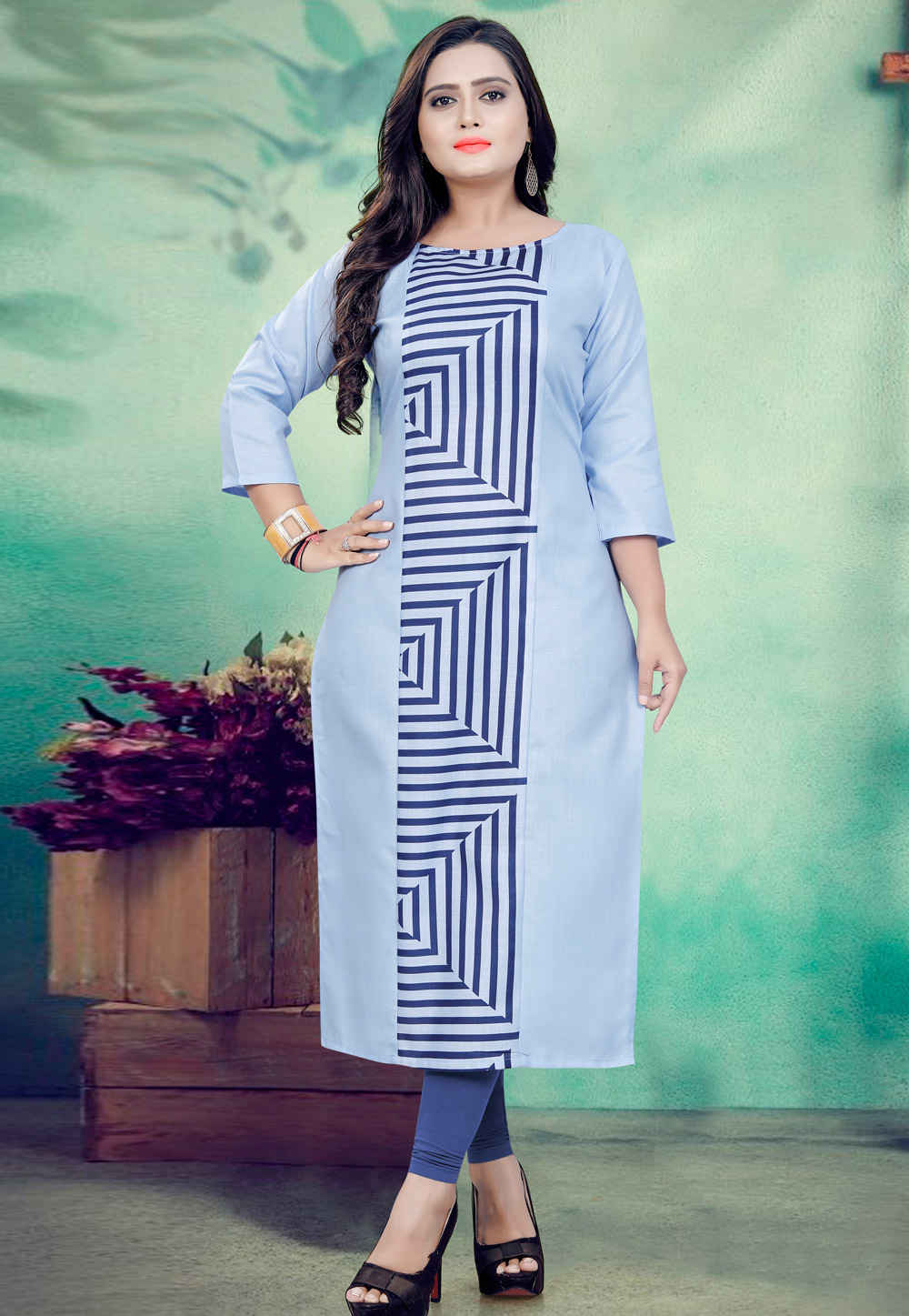 Blue Cotton Readymade Tunic 190454