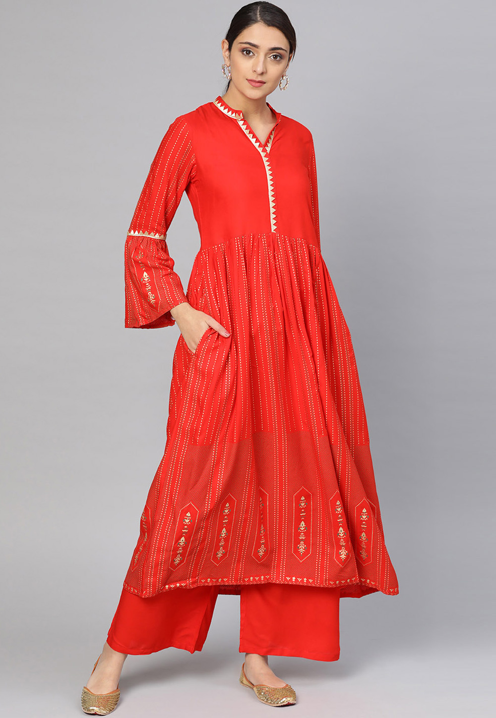 Red Viscose Readymade Palazzo Suit 200070