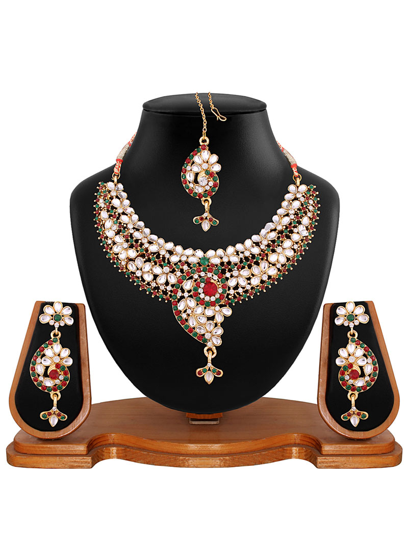 Maroon Alloy Austrian Diamonds Necklace With Earrings and Maang Tikka 56928