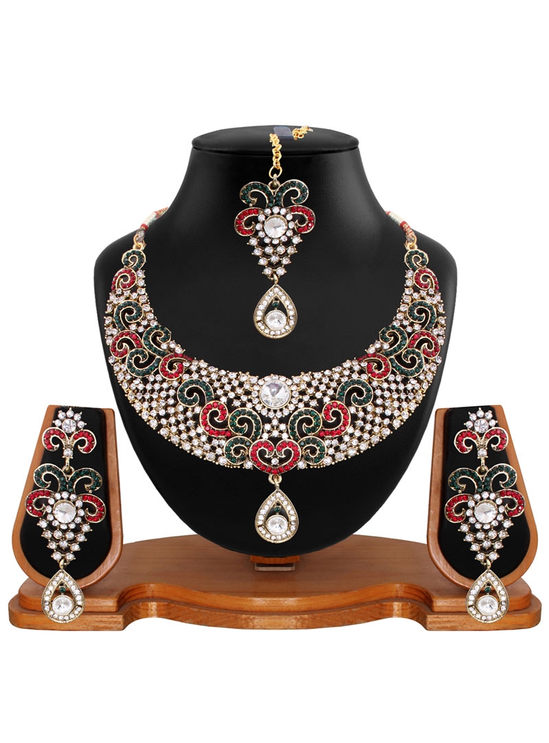 Maroon Alloy Austrian Diamonds Necklace With Earrings and Maang Tikka 56929